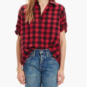 Madewell Flannel Courier Red Black Buffalo Check